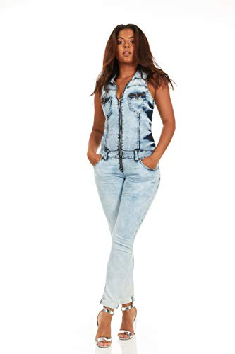 (V.I.P. JEANS Women's Skinny Sleeveless Zip Up Denim Jumpsuit Romper, Acid Washed)