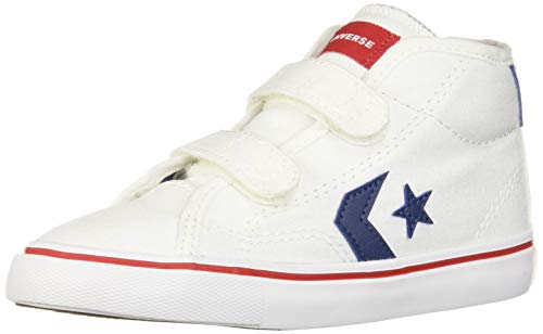 Converse Boys Infants' Star Replay 2V Mid Top Sneaker, White/Navy/Enamel Red 8 M US Toddler -