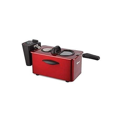 Freidora eléctrica 3 litros. Potencia 2000W. Interior con recubrimiento antiadherente. Capacidad para alimentos 800-900 gr. Precioso diseño color rojo.