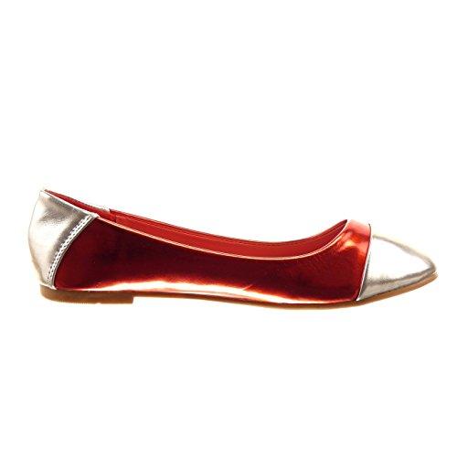 Sopily - damen Mode Schuhe Ballerina glänzende - Rot