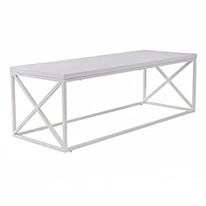 Easy Assemble White Rectangular Hollow Contemporary Coffee Table for Living Room