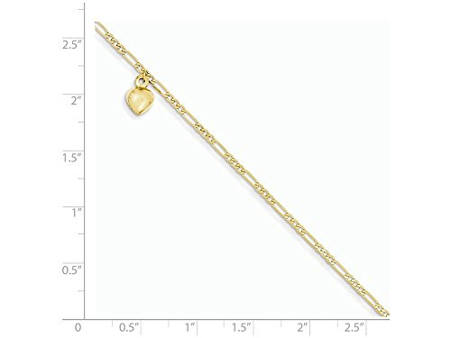Finejewelers 9 Inch 14k Yellow Gold Figaro Link with Dangling Heart Anklet (Smaller Ankles)