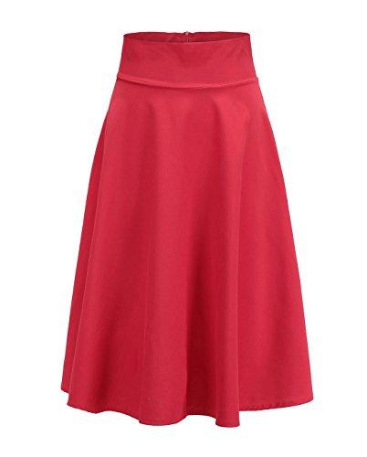JackenLOVE t Rtro Jupe Femme Fashion Plisse Haute Taille Jupes de Fte Soire Cocktail Casual Couleur Unie Midi Jupe de Plage Rouge