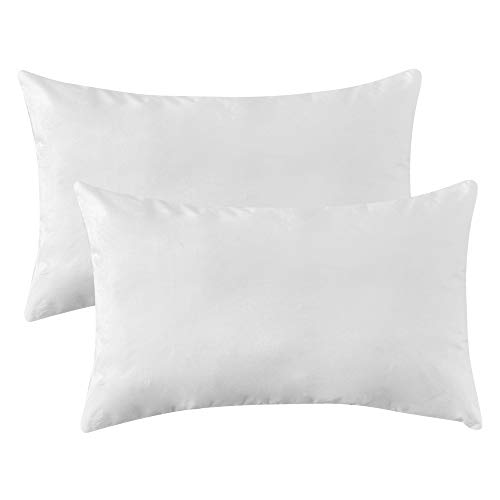 MIULEE Pack of 2 Premium Hypoallergenic Pillow Insert Sham Form Polyester for Sofa Bed 12x20 Inch 30x50 cm White