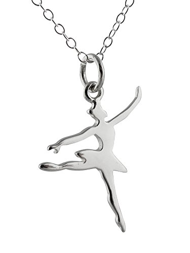 Sterling Silver Dancing Ballerina Charm Pendant Necklace, 18 Inch