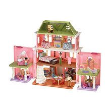 Fisher-Price Loving Family Grand Dollhouse Super Mega Set - African American with Furnitures as shown in the Rooms