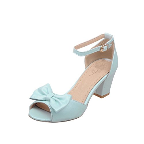 Mee Shoes Sweet PU Leather Bows Upper Mid-heel Block-heel Wrapped Court Shoes Light Blue 2koAyXk