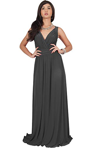 KOH KOH Womens Long Sleeveless Flowy Bridesmaids Cocktail Party Evening Formal Sexy Summer Wedding Guest Ball Prom Gown Gowns Maxi Dress Dresses, Dark Gray Grey L 12-14 (2)