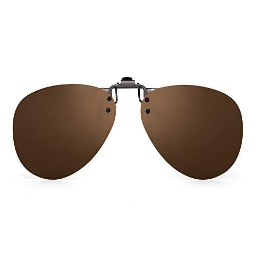 - JM Polarized Clip on Sunglasses Frameless Flip Up Aviator Style Lens for Prescription Glasses Brown