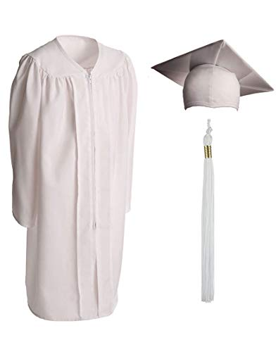 Fabric Tassel Set (Child Matte Graduation Gown, Cap and Tassel Set - Graduation Robe For Kindergarten, Pre-K and Daycare, White Size 30 (Height 3.6 to 3.9 inches tall))