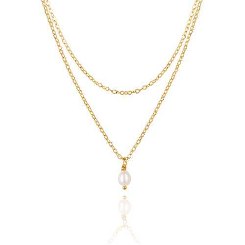 Small Cultured Pearl Drop Layering Necklace 18K Gold Chain Choker Dainty Minimalist Jewelry for Women