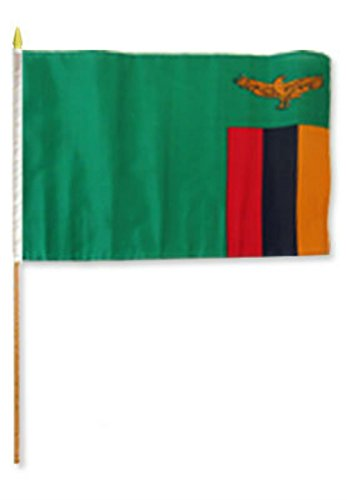ALBATROS 12 inch x 18 inch (6 Pack) Zambia Stick Flag for sale  Delivered anywhere in USA