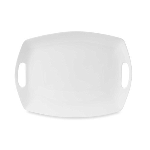 Everyday White by Fitz and Floyd Rectangular Platter with Handles, Modern And Elegant Design