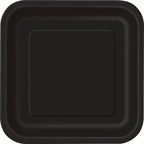 [Square Black Paper Plates, 14ct] (S Costume Ideas For Women)