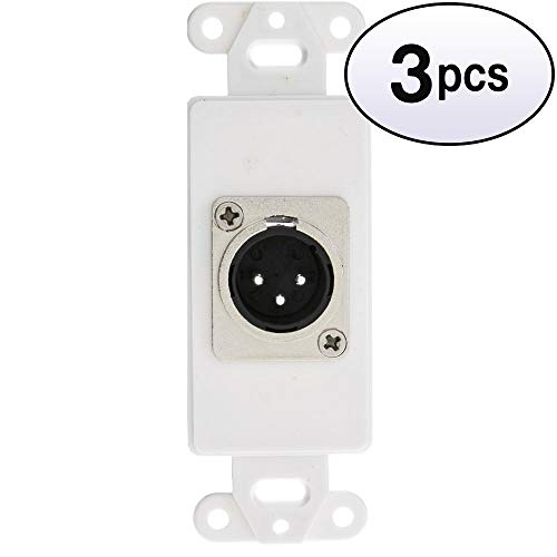 GOWOS (3 Pack) Decora Wall Plate Insert, White, XLR Male to Solder Type