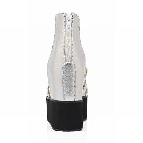 Summer Wedge Silver Dress Zip Peep Date Toe Carolbar Gladiator Womens Platform Boots Style Heel Fashion S8Twf6Pq