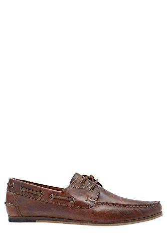 next Hombre Zapatos Zapatillas Náuticos De Piel Cómodos Suave Casual Marrón