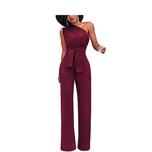 Sevem-D Jumpsuits Women Romper Overalls One Shoulder Jumpsuit Rompers Autumn Solid Body Suit with Belt,Burgundy,M ()