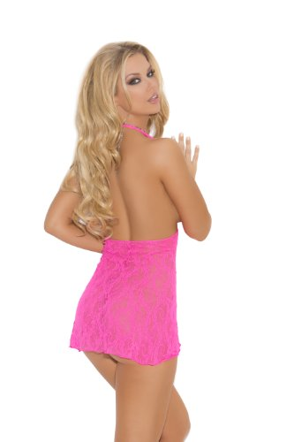 Elegant Moments Women's Lace Halter Mini Dress