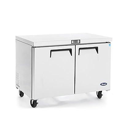 Commercial Undercounter Refrigerator,Commercial Medium Beverage Cooler Fridge Center ATOSA MGF8402 2 Door Stainless Steel Horizontal Refrigerators 12 Cu.Ft.48W30D36.6H inch 32?-38?