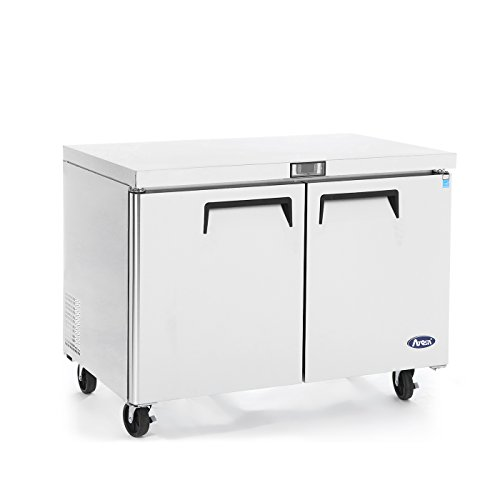 Commercial Undercounter Refrigerator,Commercial Medium Beverage Cooler Fridge Center ATOSA MGF8402 2 Door Stainless Steel Horizontal Refrigerators 12 Cu.Ft.48W30D36.6H inch 32℉-38℉