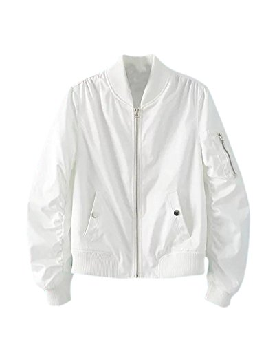 À Blanc Biker Fermeture Style Éclair Vintaje Veste Bomber Veste Saideng De Avec Manteau Femme Veste OvTPqw6