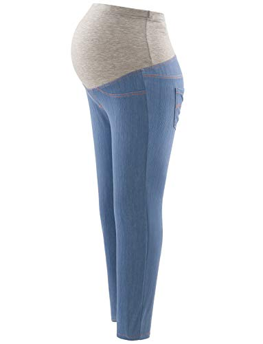 Maternity Jeans Over The Belly Leggings Stretchy Skinny Leg Pants Blue Jeans M