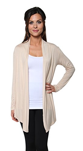 Free to Live Women's Light Weight Open Front Cardigan Sweater Made in USA (Small, Khaki)