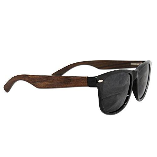 Polarized Ebony Wood Wayfarer Sunglasses by Eye Love, Lightweight, 100% UV Protection, Glare Eliminating