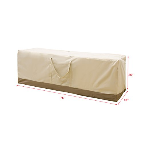 Chaise Cushion Storage Bags (Caymus 75 x 25 x 18 inch Cushion Storage Bag Heavy Duty Zippered and Water Resistant Cover Storage Bag Beige)