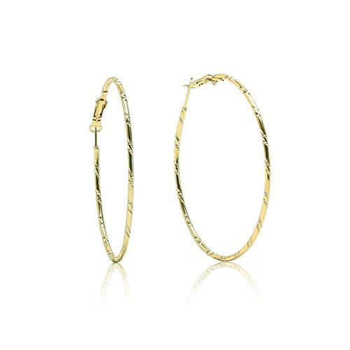 (18 K Gold Plated Polished Lightweight and Comfortable Large Round Hoops Earrings for Womens Girls Sensitive)