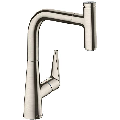 hansgrohe Talis Select S Kitchen Tap 220, Pull-Out Spout, 110°/150° Swivel Range, stainless steel