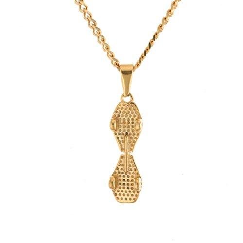 Kollmert Men Boys Hip hop Skateboard Stainless Steel Pendant Board Necklace Jewelry (Gold, alloy)