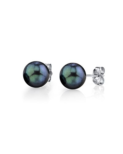 14K Gold 6.5-7mm AA+ Quality Round Black Cultured Akoya Stud Pearl Earrings Set for Women