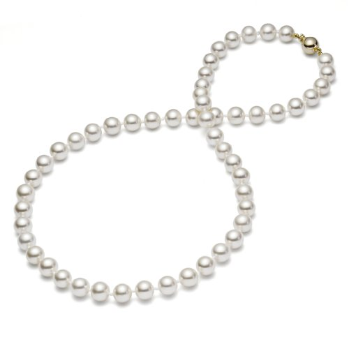 HinsonGayle AAA GEM 7.5-8mm White Round Freshwater Cultured Pearl Necklace (14K Yellow Gold, 18'') by HinsonGayle Fine Pearl Jewelry