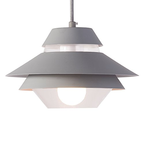 Glass Pendant Light with Grey Lamp Shade,Femony Kitchen Ceiling Light for Home Use,Bar Restaurant and Coffee Shop (Grey) by Femony