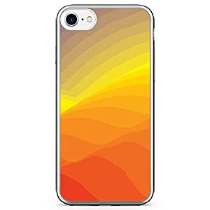 iPhone 8 Transparent Edge Phone case Waves Phone Case Minimalist Waves Phone Case Orange And Yellow iPhone 8 Cover with Transparent Bumper