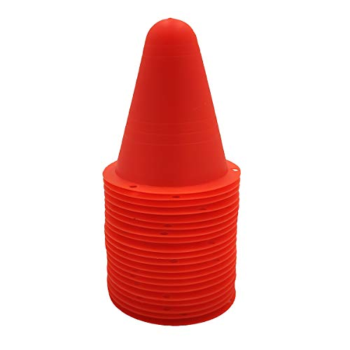(Silfrae Plastic 3.1in Roller Skating Cone Anti-Wind Traffic Markers Windproof Roadblock Set of 20 (Red))
