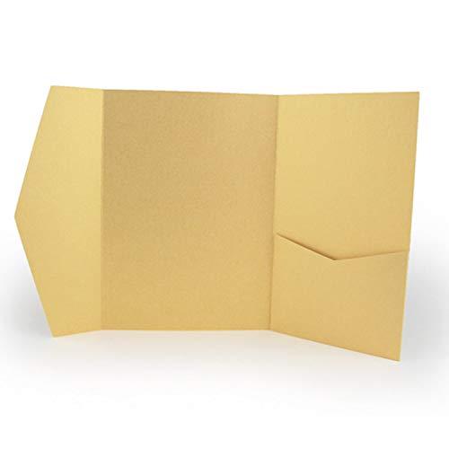 25 Pocket Fold Invitation Holder Wedding Supplies Gold Metallic A7#146