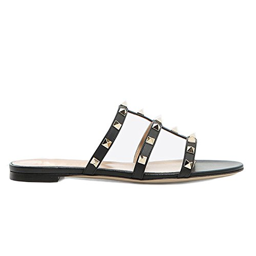 MERUMOTE Women's Rivets Studs Strap Flats Summer Daily Buckle Flat Sandals 265-Black 9US