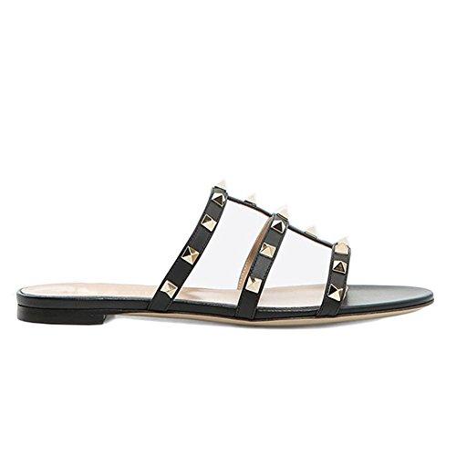 Strap Rivet - MERUMOTE Women's Rivets Studs Strap Flats Summer Daily Buckle Flat Sandals 265-Black 7US