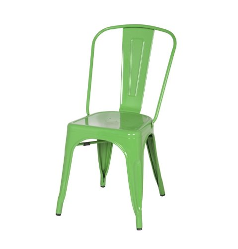 ModHaus Green Xavier Pauchard Tolix A Style Chair in Powder Coat Finish Galvanized Steel Metal Stackable