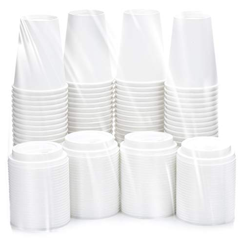 DOBI (100 Pack) 12 oz. Paper Coffee Cups and Lids, White - Disposable Hot Cups w/Plastic Lids for All Your Hot Drinks Needs -