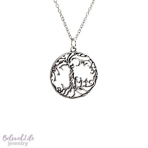 Mom & 3 Child 'Tree of Life' Hollowed-Out Pendant Necklace [Antique Silver] (Mom And Three Children Necklace)