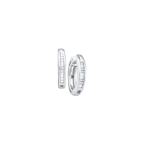 Gold Baguette Diamond Earrings - 10kt White Gold Womens Baguette Diamond Huggie Hoop Earrings 1/6 Cttw
