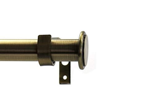 Dark Brass Antique 1 (Urbanest 1-inch Diameter Bouton Adjustable Single Drapery Curtain Rod, 48-inch to 84-inch, Antique Brass)