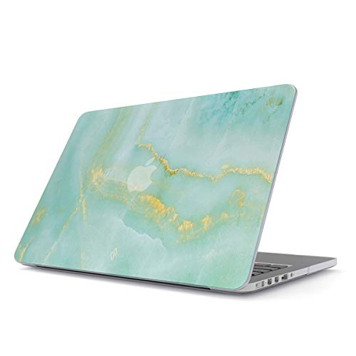 BURGA Hard Case Cover Compatible with MacBook Pro 13 Inch Case Release 2012-2015, Model: A1502 / A1425 Retina Display NO CD-ROM Sky Blue Mint Green Gold Dusts Marble Turquoise Azure ()