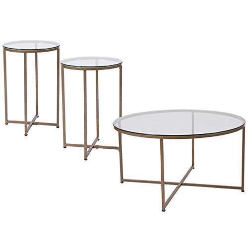 (Flash Furniture Greenwich 3 Piece Glass Top Coffee Table Set in Gold)