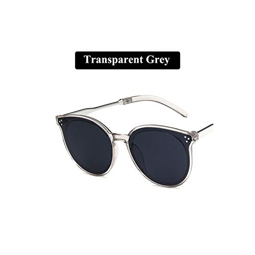 Round Sunglasses For Women Retro Harajuku Sun Glasses Vintage Zonnebril Uv400,Transparent Grey (Sonnenbrille Lanyard)