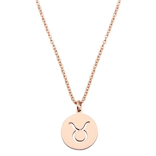KUIYAI Zodiac Pendant Necklace Rose Gold Disc Horoscope Necklace Birthday Gift (Taurus RG)